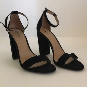 Merona Black Heels with Ankle Strap